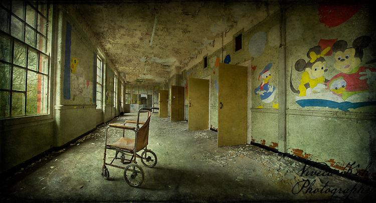 West Park Asylum children's ward with wheelchair http://www.vivecakohphotography.co.uk/2011/09/14/asylum-childrens-ward/