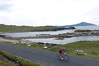 Cycling along Atlantic Drive, Achill Island, County Mayo, Ireland.