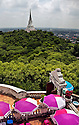 TH00360-00...THAILAND - View of the chedi on the middle peak of  Khao Wang from the west peak which is the location of one of the palaces of Rama IV, (King Mongkut), named the Phra Nakhon Khiri Palace at Phetchaburi.