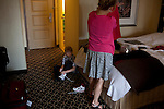 New York, NY - July 05, 2013 : Luke Spring, 10, left, and his mother Jill Spring get ready for the evening Junior Gala back at their hotel room during the New York City Dance Alliance National Summer Workshop held at the Sheraton New York Times Square Hotel in New York, NY on  July 05, 2013. Luke Spring, a dance prodigy from Studio Bleu Dance Center in Ashburn, VA, has performed on the Tonys, Ellen, So You Think You Can Dance and The Ford Gala. His sisters Cami Spring, 20, and Lucy Spring, 18, are both award winning dancers. (Photo by Melanie Burford/Prime for The Washington Post)