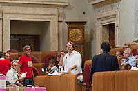 Roma, 9  Luglio 2012.Consiglio comunale in Campidoglio nell'aula Giulio Cesare per  la discussione sulla  cessione del 21% della controllata Acea, l'azienda che si occupa di acqua e servizi. Fabrizio Panecaldo del Partito Democratico