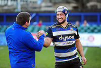 Leroy Houston of Bath Rugby with first team coach Toby Booth after the match. Aviva Premiership match, between Bath Rugby and London Irish on March 5, 2016 at the Recreation Ground in Bath, England. Photo by: Patrick Khachfe / Onside Images
