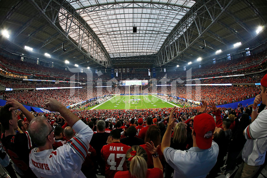 Ohio State Buckeyes fans watch the first quarter of the College Football Playoff semifinal Fiesta Bowl against the Clemson Tigers at University of Phoenix Stadium in Glendale, Arizona on Dec. 31, 2016. (Adam Cairns / The Columbus Dispatch)