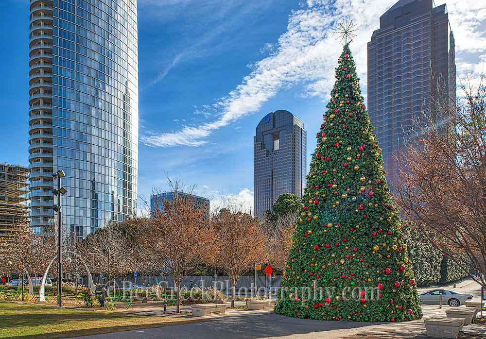 The Christmas tree at the Klyde Warren park with the Dallas skyline in the background on this cool December day.