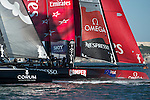 Emirates Team New Zealand leads at mark one in the first official practice race for the San Francisco America's Cup World Series regatta. 2/10/2012