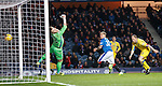 Martyn Waghorn scores the second goal for Rangers past keeper Zander Clark
