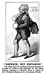 """Defence, not Defiance."" ""In these days of conflicts between counsel, I propose to make a few additions to my usual forensic costume.""- Extract from a letter of Mr Welnown Kewsee, QC., to a young friend. (a Victorian cartoon shows a barrister wearing boxing gloves and cricket pads as he walks to the courts)"