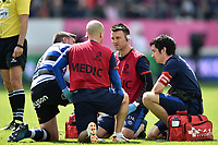 George Ford of Bath Rugby is treated by physiotherapist Damien Kelly. European Rugby Challenge Cup Semi Final, between Stade Francais and Bath Rugby on April 23, 2017 at the Stade Jean-Bouin in Paris, France. Photo by: Patrick Khachfe / Onside Images