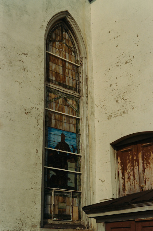 1966 June..Conservation.Downtown North (R-8)..Bank Street Baptist Church.501 Bank Street.Views of Stained Glass Windows..7. Closeup of Window D...NEG#.NRHA#..