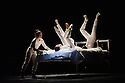 London, UK. 01.04.2016. Quebecoise circus group, Les 7 Doigts de la Main (The 7 Fingers) present TRIPTYQUE, at Sadler's Wells. The piece shown is NOCTURNES, choreographed by Marcos Morau. Performers are: Franklin Luy, Marie-Ève Dicaire, Alexandra Mizzen, Alvaro Fitinho, Anne Plamondon, Nicolas Montes de Oca, Matthew Pasquet, Kyra Jean Green. Photograph © Jane Hobson.