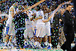 2 APR 2012: Doron Lamb (20) from the University of Kentucky celebrates with his teammates following the Championship Game of the 2012 NCAA Men's Division I Basketball Championship Final Four held at the Mercedes-Benz Superdome hosted by Tulane University in New Orleans, LA. Kentucky defeated Kansas 67-59 to claim the championship title. Ryan McKeee/ NCAA Photos.
