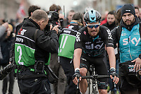 3rd place finisher Luke Row (GBR/Team Sky) on his way to the podium<br /> <br /> 69th Kuurne-Brussel-Kuurne 2017 (1.HC)