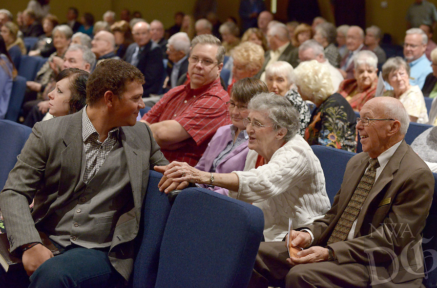 NWA Democrat-Gazette/BEN GOFF @NWABENGOFF<br /> Alex Martinez (from left) chats with Diane Strickland and husband Jack Strickland before service on Sunday Nov. 8, 2015 at the new building of Village Bible Evangelical Free Church in Bella Vista.