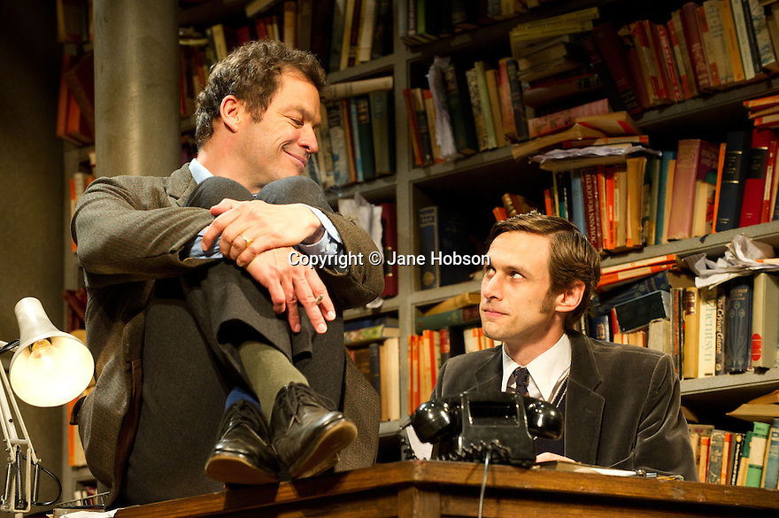 """London, UK. 03/06/2011.  """"Butley"""" by Simon Gray opens at the Duchess Theatre, London. Dominic West (The Wire) stars as the eponymous Butley. Picture shows Dominic West (l) as Butley and Martin Hutson (r) as Joseph Keyston. Photo credit should read Jane Hobson"""