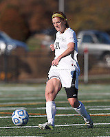College of St Rose forward Laura Taylor (21) passes the ball. . In 2012 NCAA Division II Women's Soccer Championship Tournament First Round, College of St Rose (white) defeated Wilmington University (black), 3-0, on Ronald J. Abdow Field at American International College on November 9, 2012.