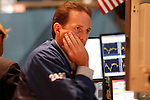 Traders on the floor of the New York Stock Exchange, Wall Street, New York City, New York, USA, August 5, 2011