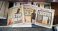 The New York Daily News, the New York Post and Long Island Newsday use freeze frames on their covers on Wednesday, September 3, 2014 for their coverage of the beheading of kidnapped American journalist Steven Sotloff at the hands of the terrorist group ISIS.   (© Richard B. Levine)
