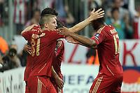 FUSSBALL   CHAMPIONS LEAGUE   SAISON 2011/2012     27.09.2011 FC Bayern Muenchen - Manchester City FC Jubel Bastian Schweinsteiger, Jerome Boateng (v. li., FC Bayern Muenchen)