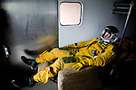 U2 pilot Major Eric Shontz rides in a van to the flightline for a &quot;high-flight&quot; at Beale Air Force Base February 24, 2010 in Linda, Calif.