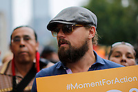 New York City, NY. 21 September 2014. Actor Leonardo di Caprio takes part in the People's Climate March,  making it the largest climate march in history. Photo by Kena Betancur/VIEWpress