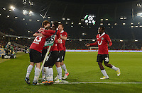 FUSSBALL   1. BUNDESLIGA    SAISON 2012/2013    9. Spieltag   Hannover 96 - Borussia Moenchengladbach         28.10.2012 Torjubel nach dem 1:0 um Torschuetze Jan Schlaudraff (li). Rechts 2:0 Torschuetze Mame Diouf (alle Hannover 96)