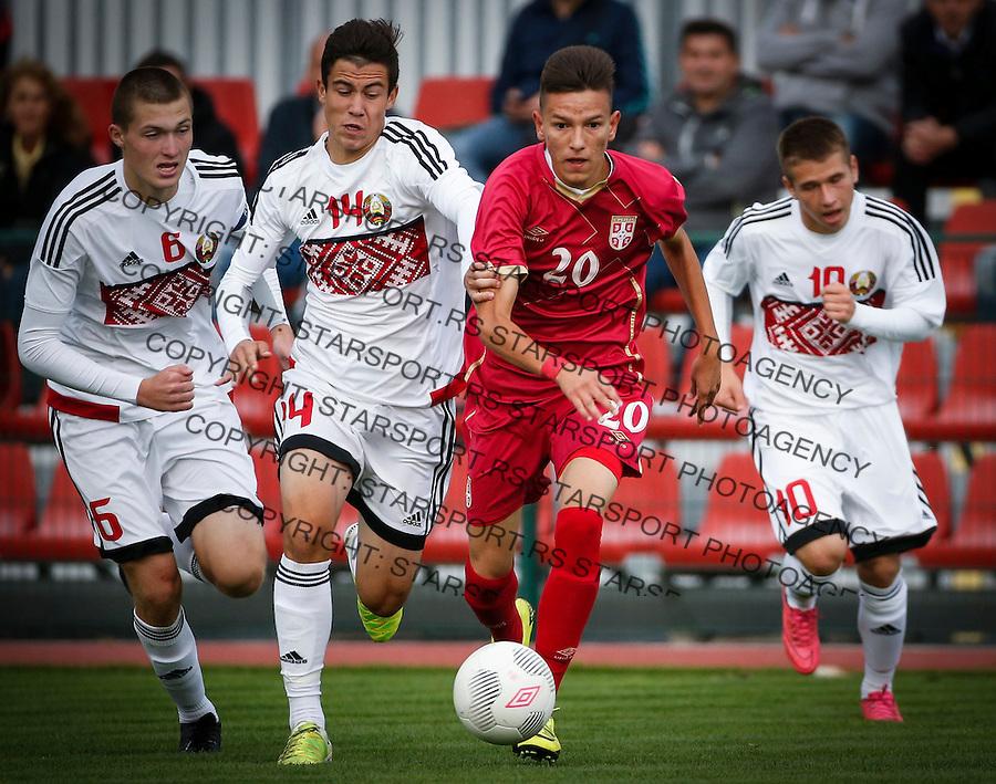 Fudbal Soccer<br /> International Friendly-Prijateljski mec<br /> Srbija U17 v Belorusiaj U17<br /> Mihajlo Neskovic (R) and Yury Muzychenka<br /> Stara Pazova, 20.09.2016<br /> foto: Srdjan Stevanovic/Starsportphoto &copy;