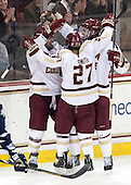 Bill Arnold (BC - 24), Quinn Smith (BC - 27), Kevin Hayes (BC - 12) - The Boston College Eagles defeated the visiting University of New Hampshire Wildcats 5-2 on Friday, January 11, 2013, at Kelley Rink in Conte Forum in Chestnut Hill, Massachusetts.
