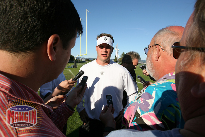 ALAMEDA - May 5:  Oakland Raiders head coach Lane Kiffin talks with the media during mini camp at the Raiders practice facility in Alameda, California on May 5, 2007. (Photo by Brad Mangin)