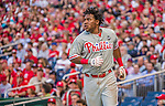 22 May 2015: Philadelphia Phillies infielder Maikel Franco comes home to score in the second inning against the Washington Nationals at Nationals Park in Washington, DC. The Nationals defeated the Phillies 2-1 in the first game of their 3-game weekend series. Mandatory Credit: Ed Wolfstein Photo *** RAW (NEF) Image File Available ***