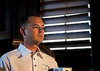 Apr 22, 2014; Kilgore, TX, USA; NHRA top fuel dragster driver Steve Torrence at the Torrence estate. Mandatory Credit: Mark J. Rebilas-USA TODAY Sports