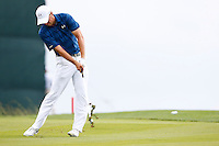 Jordan Spieth hits from the fairway on hole 1 during the 2016 U.S. Open in Oakmont, Pennsylvania on June 16, 2016. (Photo by Jared Wickerham / DKPS)