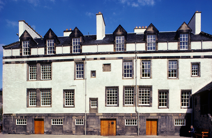 Ancient buildings in traditional style on the Royal Mile, Edinburgh. Scotland..