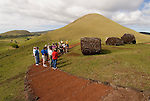 Chile, Easter Island: Puna Pau, the quarry for red stone topknots that were put on the statues or moai.  Most Moai were believed to have these multi-ton hats..Photo #: ch304-33667.Photo copyright Lee Foster www.fostertravel.com lee@fostertravel.com 510-549-2202