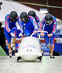 22 November 2009:  Evgeny Popov, piloting the Russia 2 bobsled, leads his 4-man team to an 11th place finish at the FIBT World Cup competition, in Lake Placid, New York, USA. Mandatory Credit: Ed Wolfstein Photo
