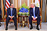 Egyptian President Abdel Fattah al-Sisi meets with US President Donald Trump, in the Saudi capital Riyadh on the sideline of the Arab American Islamic summit on May 21, 2017. Photo by Egyptian President Office