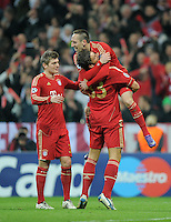 FUSSBALL   CHAMPIONS LEAGUE   SAISON 2011/2012  Achtelfinale Rueckspiel 13.03.2012 FC Bayern Muenchen - FC Basel  JUBEL FC Bayern Muenchen; Toni Kroos, Mario Gomez (FC Bayern Muenchen)  umarmt von Franck Ribery (v.li.)