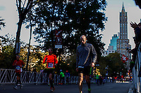 New York City, NY. 02 November 2014. Runners attend the 29th New York City Marathon as they arrive to Central park.