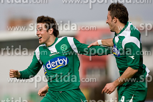 Boban Jovic of Olimpija and Agim Ibraimi of Olimpija celebrate at 29th Round of 1st Slovenian football league match between NK Olimpija Ljubljana and HIT Gorica, on April 3, 2010, in ZAK stadium, Ljubljana, Slovenia. Olimpija defeated HIT Gorica 5-0.  (Photo by Vid Ponikvar / Sportida)