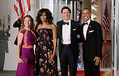 United States President Barack Obama, right, and First Lady Michelle Obama, center left, greet Prime Minister Justin Trudeau, center right, and Mrs. Sophie Gr&eacute;goire Trudeau, left, of Canada on the North Portico of the White House March 10, 2016 in Washington,D.C. <br /> Credit: Olivier Douliery / Pool via CNP