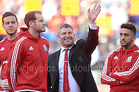 Players and coaches during the homecoming celebrations at the Cardiff City stadium on Friday 8th July 2016 for the Euro 2016 Wales International football squad.<br /> <br /> <br /> Jeff Thomas Photography -  www.jaypics.photoshelter.com - <br /> e-mail swansea1001@hotmail.co.uk -<br /> Mob: 07837 386244 -