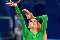 August 23, 2008; Beijing, China; Rhythmic gymnast Natalya Godunko of Ukraine balances with hoop on way to placing 7th in the All-Around final at 2008 Beijing Olympics..