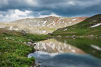 Mountain reflection in small lake, Ice Lakes basin, San Juan mountains, Colorado, USA