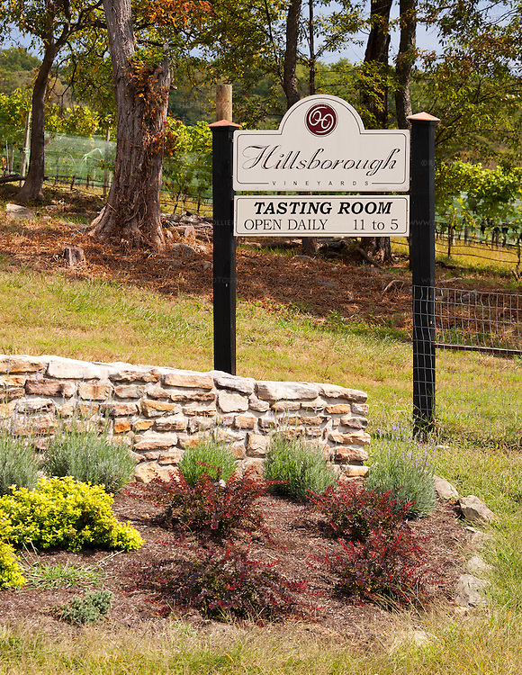 The neat sign at the entrance to Hillsborough Vineyards.