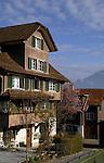 Beckenreid homes with snowcapped mountains in the background, Beckenreid, Luzern area, Switzerland.