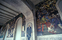 Mural by Diego Rivera  in the Palacio de Cortes in downtown Cuernavaca, Morelos, Mexico. This mural was painted in the 1920's. It shows the history of Mexico from the Spanish Conquest until the 1910 revolution.  Cortes' Palace now houses the Museo Regional Cuauhnahuac and murals by Diego Rivera.