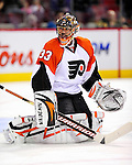 7 December 2009: Philadelphia Flyers' goaltender Brian Boucher warms up prior to a game against the Montreal Canadiens at the Bell Centre in Montreal, Quebec, Canada. The Canadiens defeated the Flyers 3-1. Mandatory Credit: Ed Wolfstein Photo