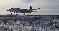 """The Everts Air Fuel DC-6 """"Aviator"""" prepares to touch down at the Umiat airport on Friday, March 8, 2013."""