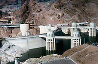 HOOVER DAM<br /> Dam Viewed From Behind<br /> <br /> Provides hydroelectric power, flood control and irrigation for the southwest