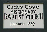 Sign for Cades Cove Missionary Baptist Church
