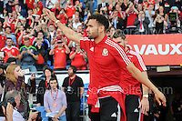 Hal Robson-Kanu during the homecoming celebrations at the Cardiff City stadium on Friday 8th July 2016 for the Euro 2016 Wales International football squad.<br /> <br /> <br /> Jeff Thomas Photography -  www.jaypics.photoshelter.com - <br /> e-mail swansea1001@hotmail.co.uk -<br /> Mob: 07837 386244 -